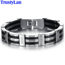 Men Bracelet High Quality Stainless Steel & Black Silicone classic design model # 850H