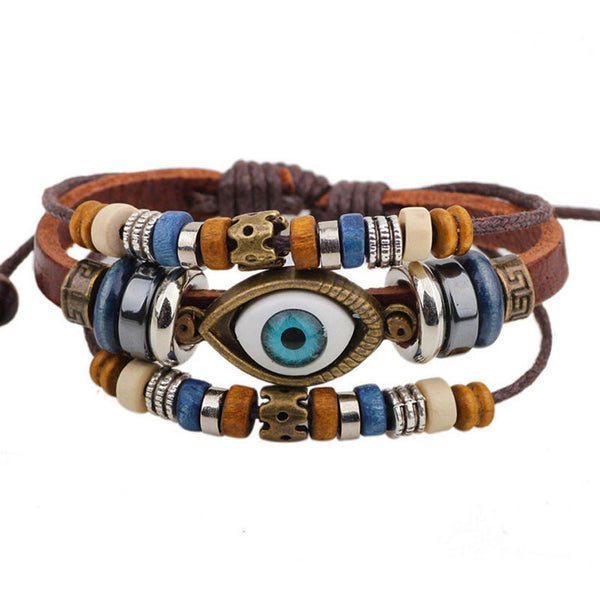 Evil Eye Leather Handmade Adjustable Bracelet Jewelry Unisex 6 colors