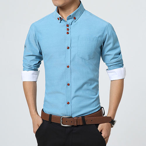 Men Shirts Long Sleeve Trend Slim Fit  Men Solid Color High Quality clothes 5XL