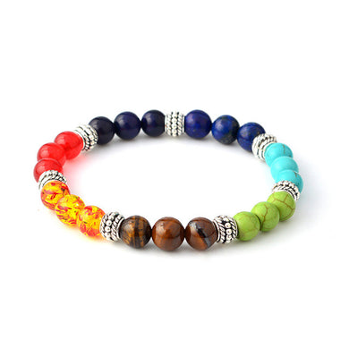 Yoga Healing Balance 7 Multicolor Natural stone Bracelet chakra Beads Energy