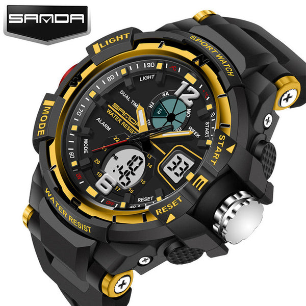Sport Diving Watch Man LED Quartz Wrist Watches Man Top Brand Luxury SANDA