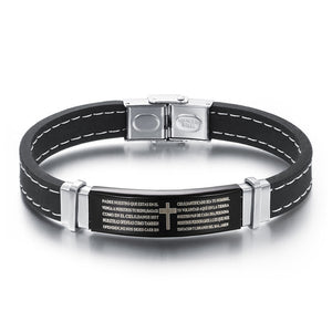 Bracelet Bible Cross Silver Color Titanium Stainless Steel. Silicone Bracelets & Bangles Men Punk