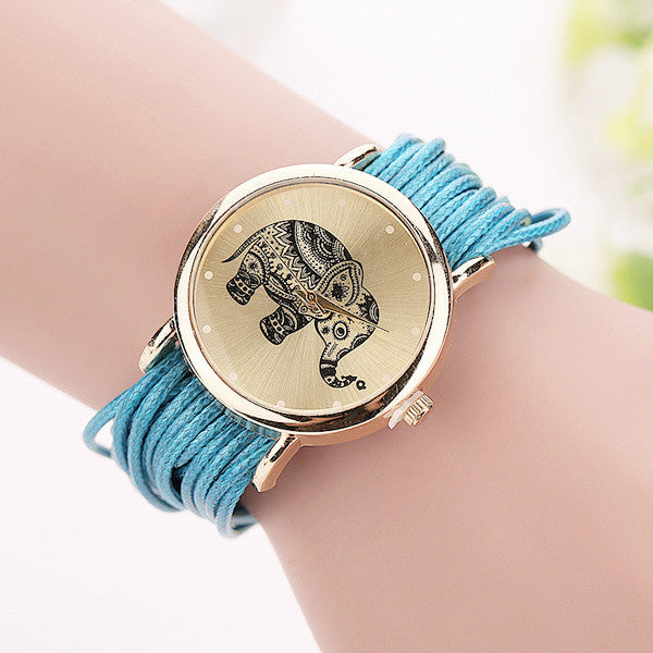 Elephant Watch Wrist Leather Bracelet Fashion Casual Watches