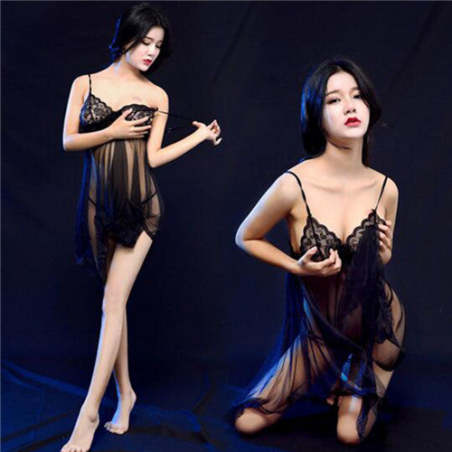Hot Sexy Babydoll Women Lingerie Erotic Transparent Lace Sex Pajama