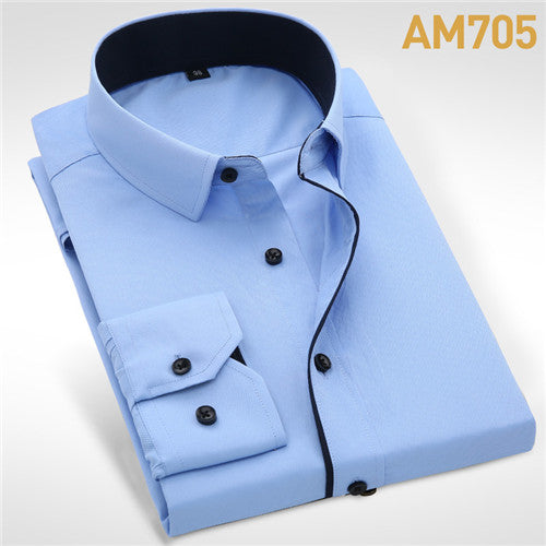 Men shirts Wedding Long Sleeve Men Dress Shirt Business Solid Color Casual Formal Slim