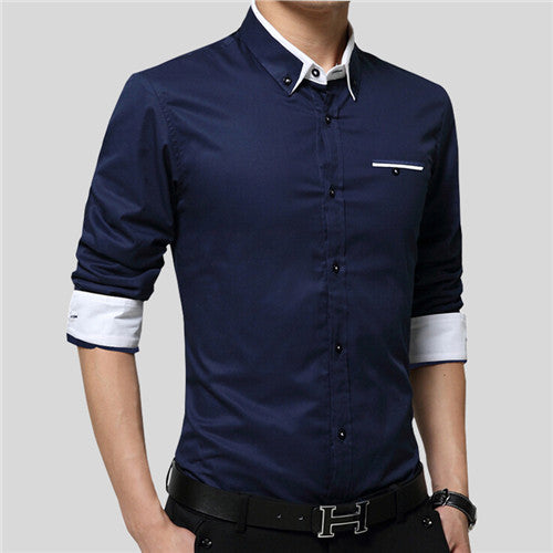 New Popular Designs Men Shirts Business Long Sleeve Turn-down Collar 100% Cotton Male Shirt Slim Fit