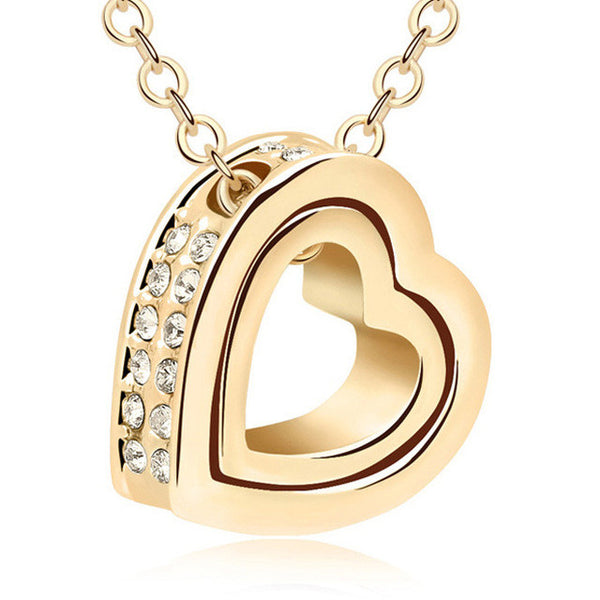 Heart pendant two parts Gold color and silver plated Austrian crystal stones including chains
