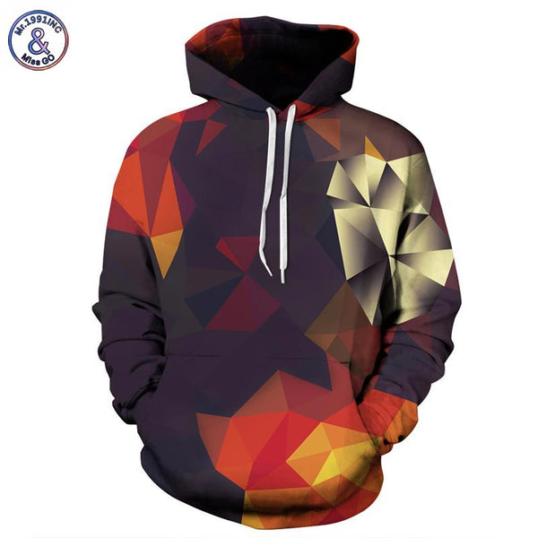 Hoodies with Hat hoody print color blocks autumn winter thin 3d Sweatshirts men shirts and women