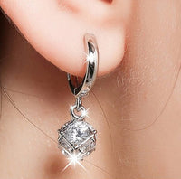 Elegant Earrings 925 Solid silver-jewelry Crystal Ball Cubic Zirconia Rhine stones Stud Earrings