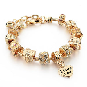 Bangle Bracelets Beads Gold plated Luxury Murano Glass Beads Heart shape For Women. Model gbr160056g