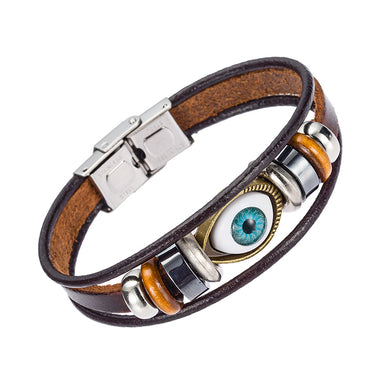 Evil Eye Bracelet Handmade Leather Strap Beads Bracelet for Men and woman - NM1520L