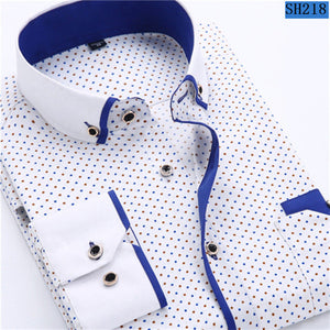 Men shirts Fashion Casual Long Sleeved Printed shirt Slim Fit 2017 Clothing Soft Comfortable
