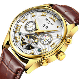 Men Watch Skeleton Automatic Gold plate Steel Calendar Waterproof', Model Number: JYD-J011