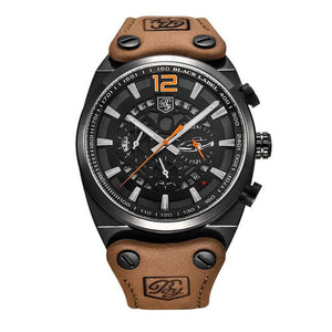 Men Watch Leather Waterproof Sport Military Quartz Chronograph   Model Number: BY-5112M