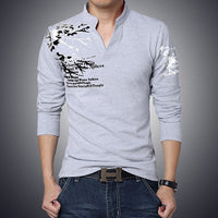 Men T Shirt Print Slim Fit Long Sleeve Tee V-Neck Casual Men shirts Cotton Plus Size M-5XL