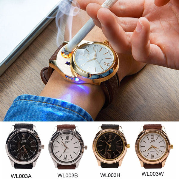 Lighter Watch Flameless Electronic Cigarette Lighter Rechargeable USB  Quartz Wristwatches  model : AEWL003