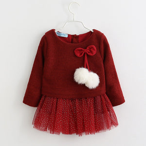 Two Piece Dress baby girl clothes. New Casual Autumn Baby Clothes Long Sleeve Plaid Bear Straps Fake - Model Number: AX056