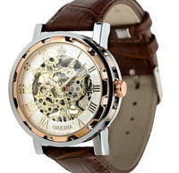 Mans Watch Leather Band Stainless Skeleton Mechanical Wrist MODEL # MZ1152