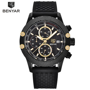 Men Watch Sport Chronograph Stainless Steel Waterproof Quartz Model Number: BY-5109-1M
