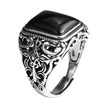 Ring Men Vintage solid 925 Sterling Silver Jewelry Black onyx Stone Hollow Cross Flower Carved Model # NMR1954