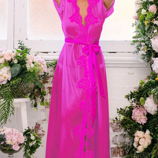 Sexy Charming Transparent Women Lingerie Dress Lace Floral Robe NightwearWith G-string