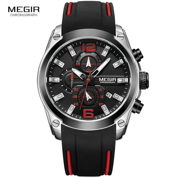 Men Watch Chronograph Analog Quartz, Waterproof Silicone Rubber Model M2063G-2