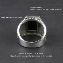 Ring Men Vintage  solid 925 Sterling Silver Jewelry Natural Black onyx Stone Punk Fashion Model # NMR1950