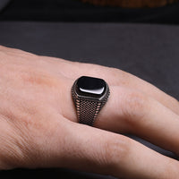 Ring Men Vintage solid 925 Sterling Silver Natural Black Onyx Stone Model # NMR1952