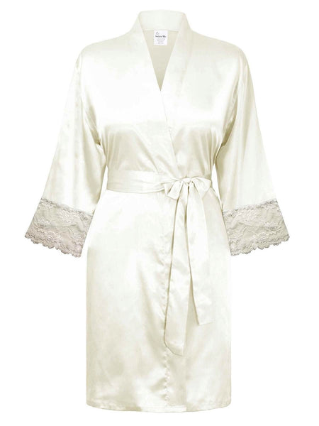 wite satin bathrobe kimono for bride wedding gift women lingerie