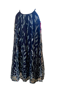 Navy Laurel Glitter dress with glitter overlay netting