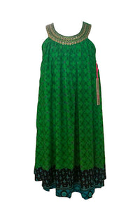 Emerald  and Navy Pattern dress with silver button highlights