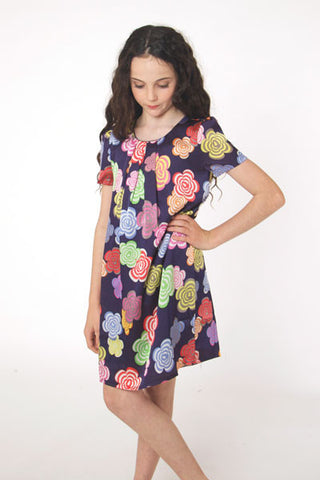 Colour Flower dress in navy