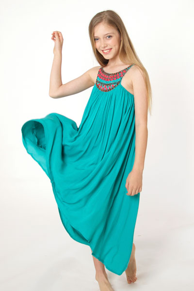 Waterfall Hem dress with Egyptian collar in teal