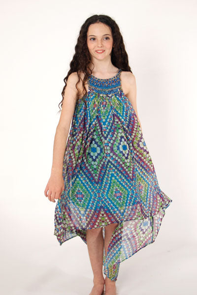 Waterfall tween dress with Egyptian collar in blue bubble print