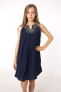 Beaded Collar dress in French Navy