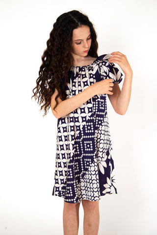 Navy Diagonal Design dress