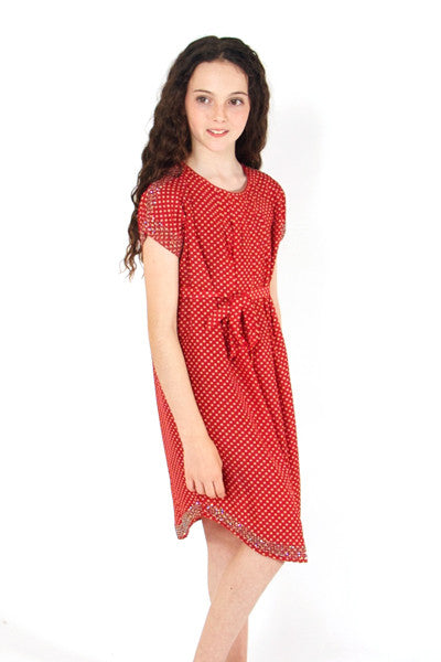 Spotty dress in Navy or Red with silver sparkles