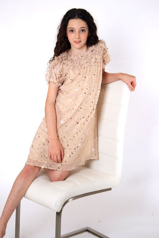 Square Sequin dress in butterscotch cream