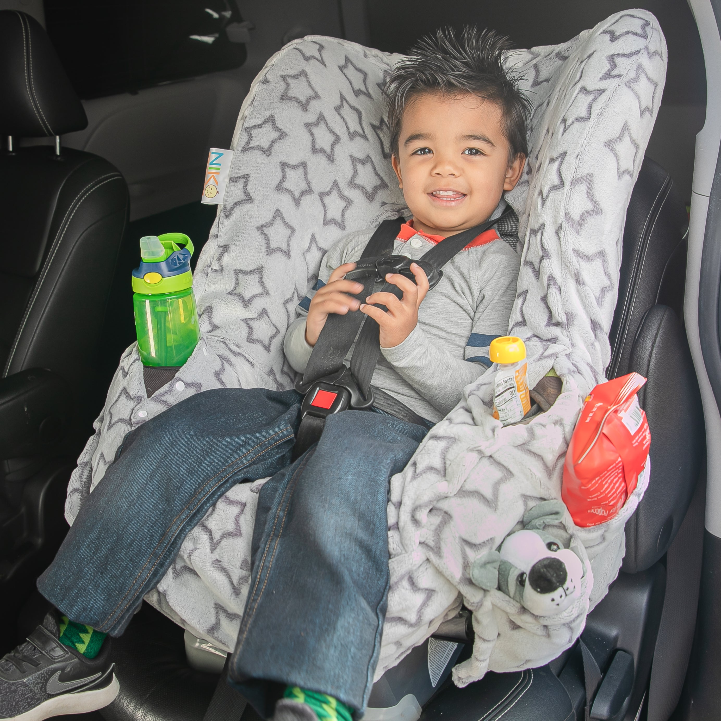 Niko Easy Wash Children's Car Seat Cover & Liner - Minky - Silver Star