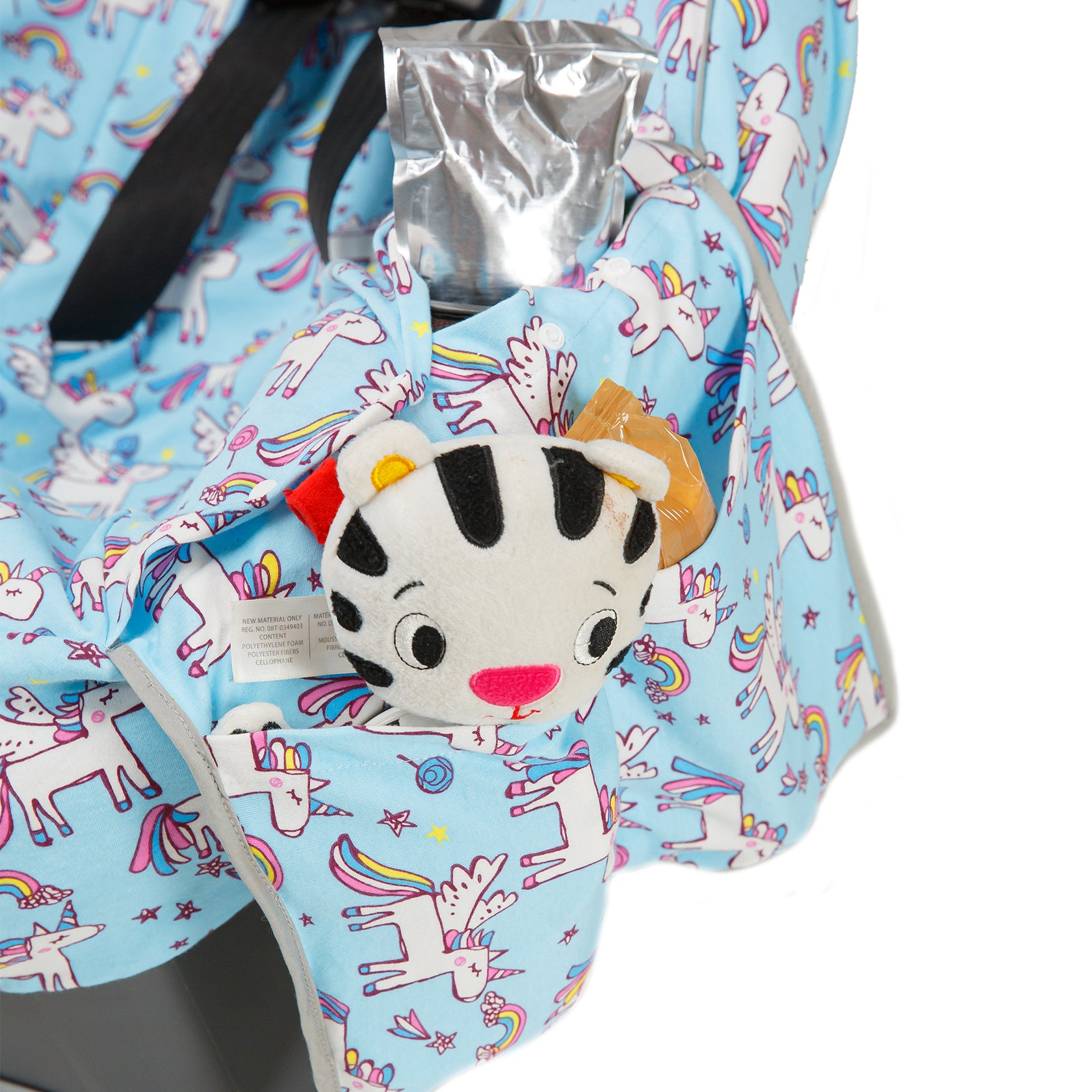 Niko Easy Wash Children's Car Seat Cover & Liner - 100% Cotton Jersey - Blue Unicorn