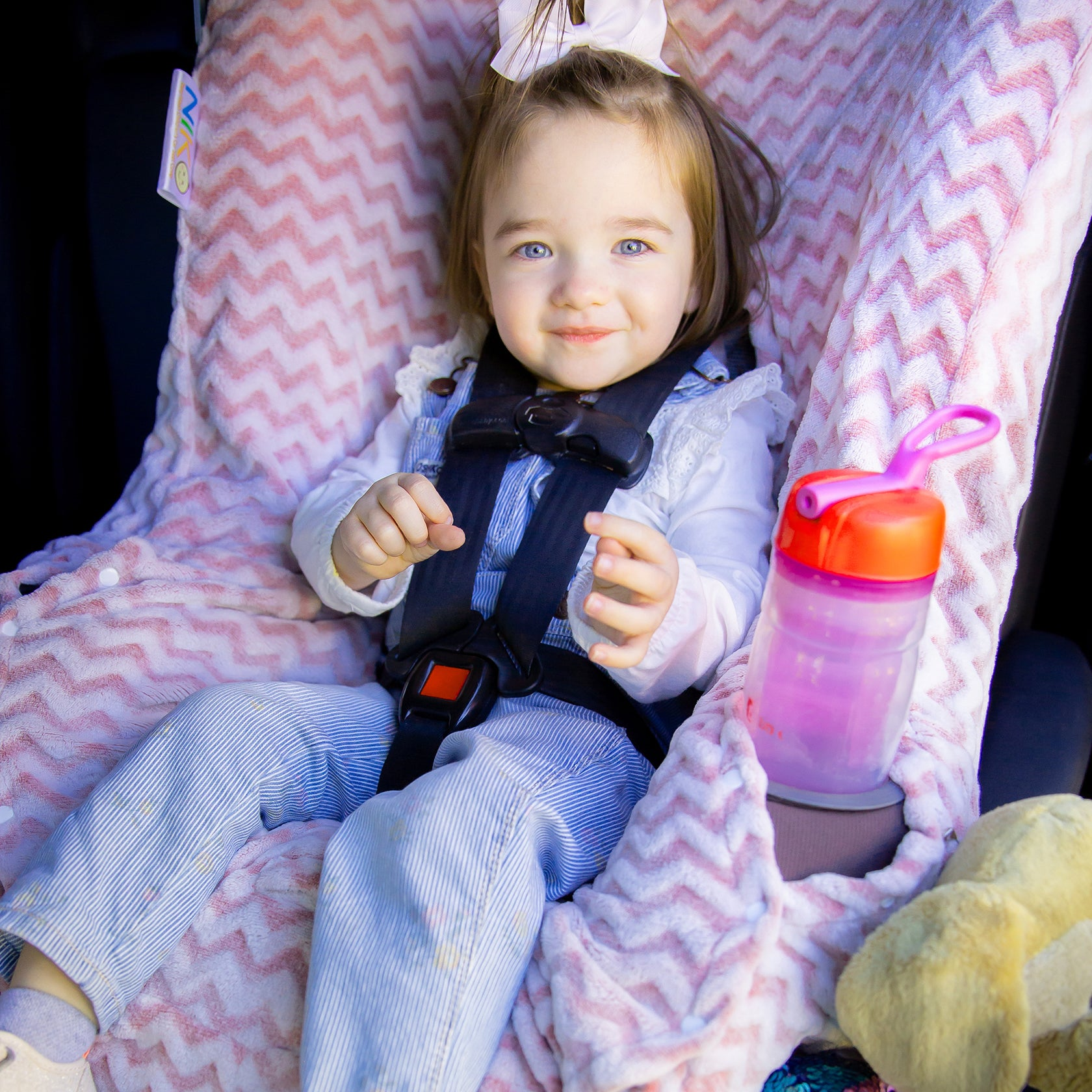 Niko Easy Wash Children's Car Seat Cover & Liner - Minky - Pink Chevron