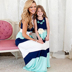 Image of Stylish Mother and Daughter matching dress - Blue and White