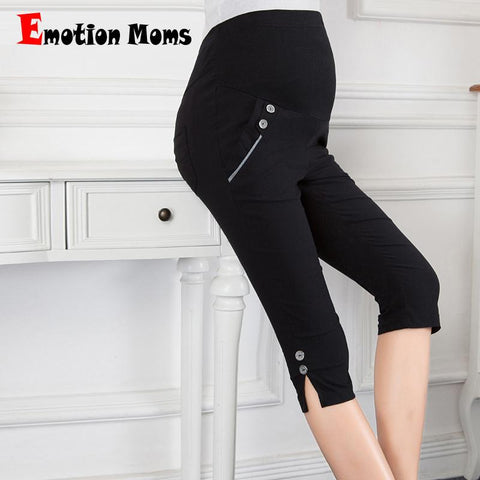 Summer Maternity Capri Pants High Waist Trousers - Black