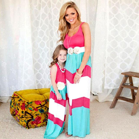 Mother Mom Daughter Matching Family Dress Outfit Pink Blue