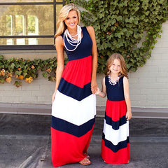 Image of Stylish Mother and Daughter matching dress - Red and White