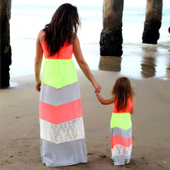 Image of Stylish Mother and Daughter matching dress - Green and Grey
