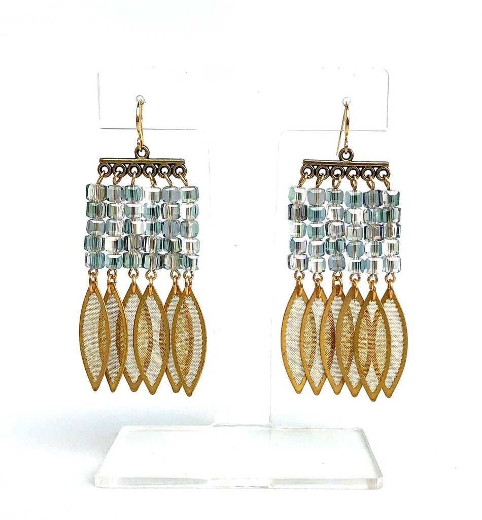 6 Golden Leafs Earrings Aqua - MIMI SCHOLER
