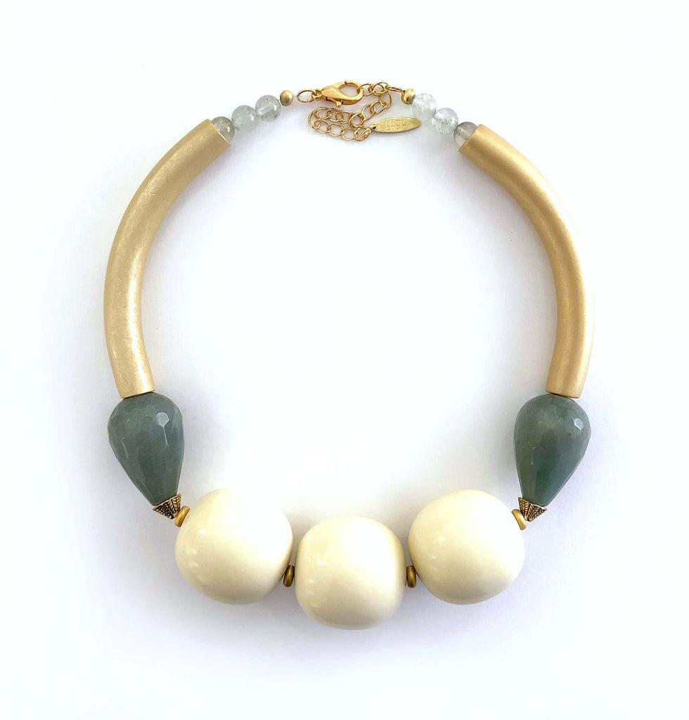 Agate Drop Necklace green/white - MIMI SCHOLER