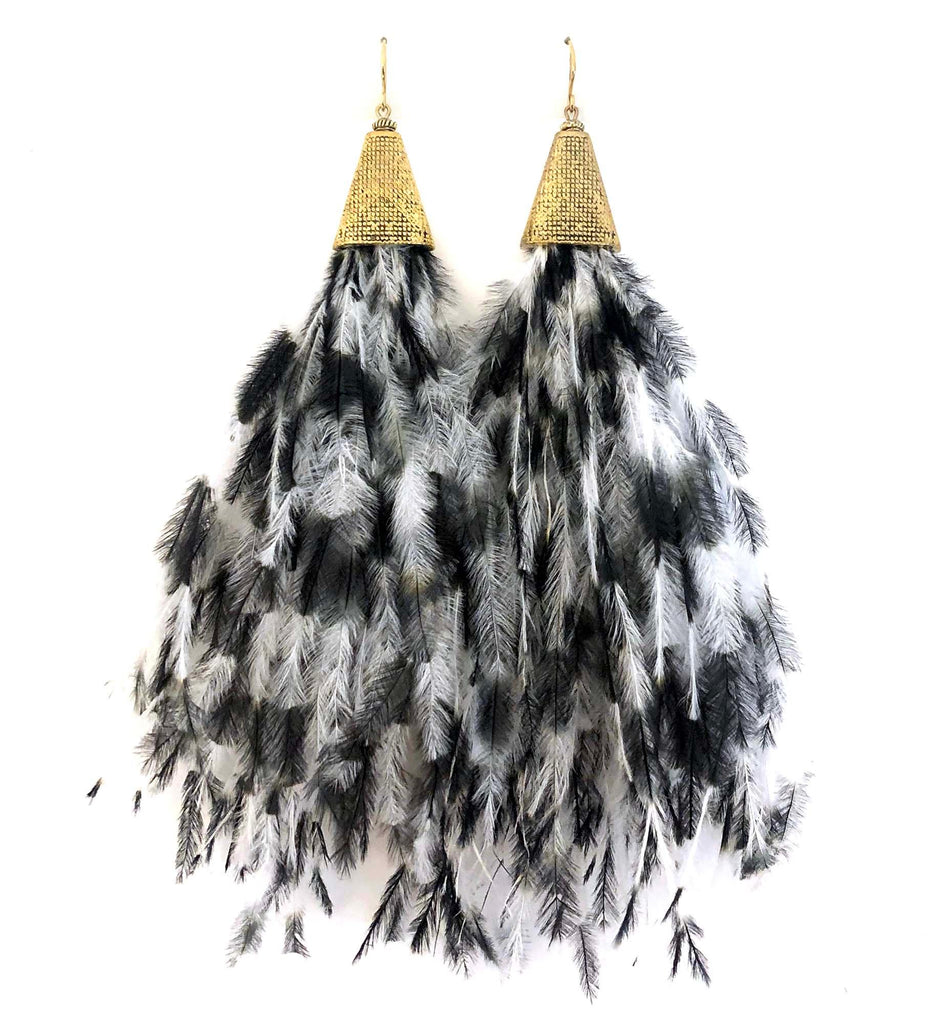 Ostrich-Feather Earrings black/white - MIMI SCHOLER