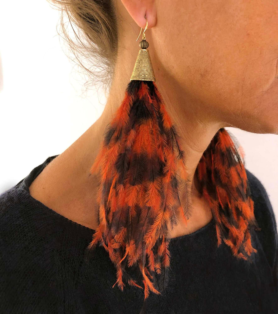 Ostrich Feather Earrings orange/black - MIMI SCHOLER